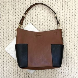 Calvin Klein Two Tone Brown Leather Shoulder Bag